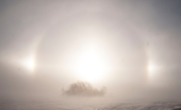Wind-blown snow creates a halo effect on a prairie wetland.