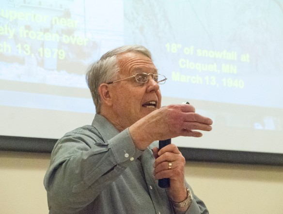 Climatologist Mark Seeley makes a point in his presentation at the Land Stewardship Project's Starbuck, Minnesota, gathering.