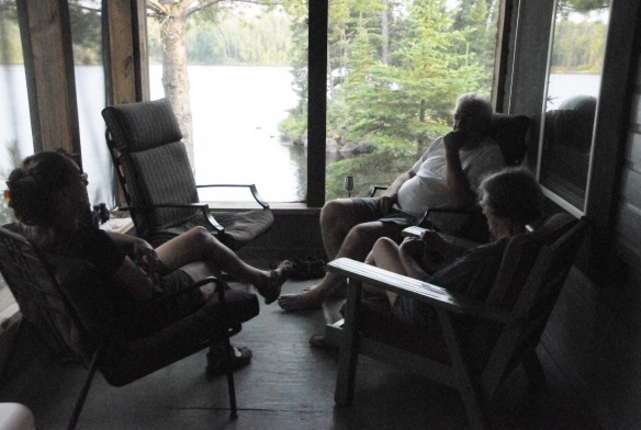 When not in the kayak or canoe, we spend time on the airy porch reading and visiting.