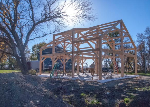We eagerly await the completion of the beautiful timber frame.