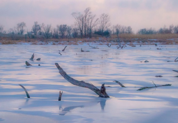 Finally, just before dusk, a nice pinkish light broke over the prairie. My 2014 Winter Solstice image.