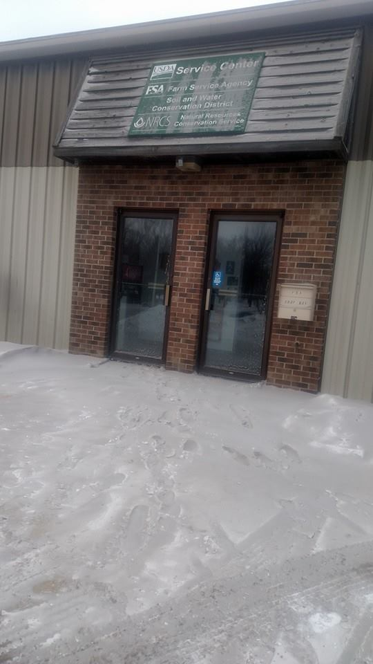 The parking lot in front of the Renville County SWCD office. (Photo by Tom Kalahar)