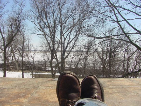 Looking out toward the south prairie over Rebecca's boots when we first moved here.