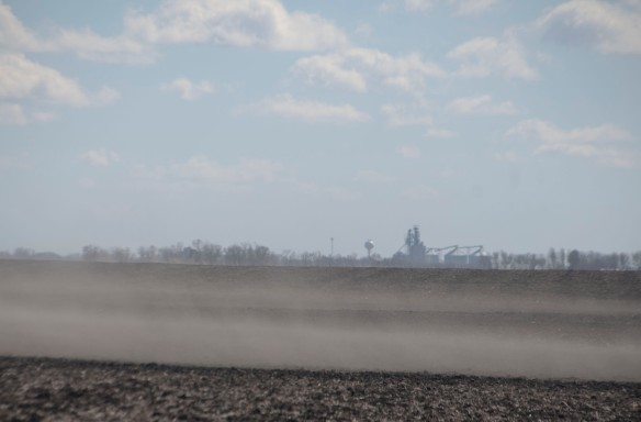 In March, winds whipped up the unprotected soils north of Clara City ... you can see the